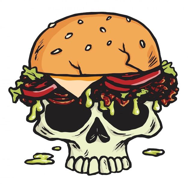 Dead skull burger, hamburger fries vector illustration Vecteur Premium