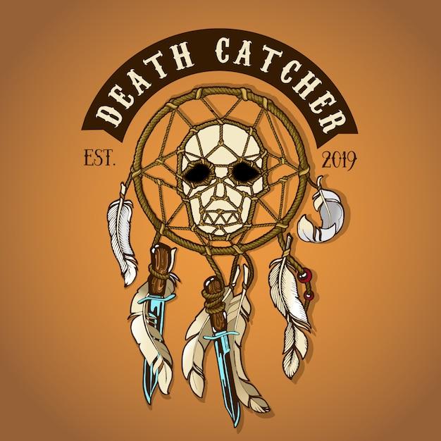 Death catcher de motard de couleur Vecteur Premium