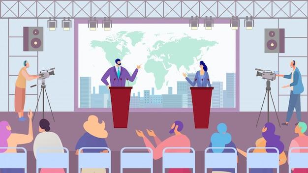 Débat Des Candidats Des Partis Politiques, Campagne électorale, Personnages De Dessins Animés De Personnes, Illustration Vecteur Premium