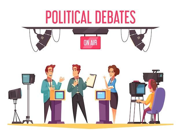 Des Débats Politiques Télévisés En Direct Montrent Des Participants à La Campagne Présentant Des Programmes Et Confrontant Des Opposants à La Composition De Dessins Animés Vecteur gratuit