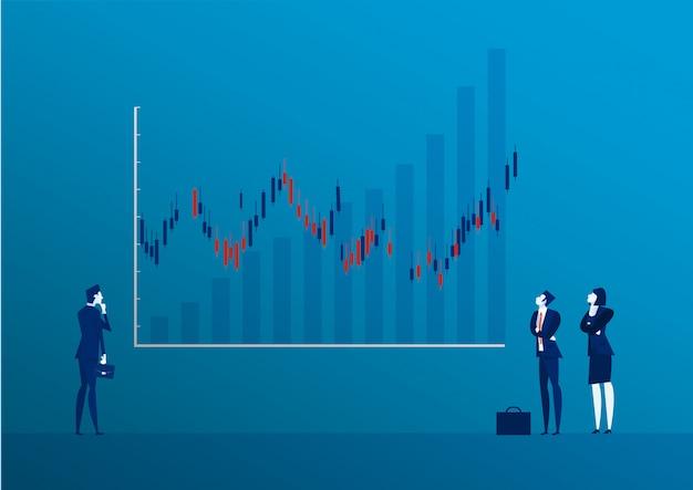 Debout, vue arrière, homme affaires, regarder, bougie, bâton, graphique, bourse, illustration Vecteur Premium