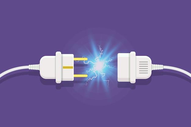 Débranchez La Prise Avec Une étincelle électrique Dans Un Style Plat Vecteur Premium
