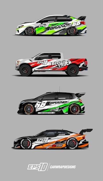 Décalques de voiture de course Vecteur Premium