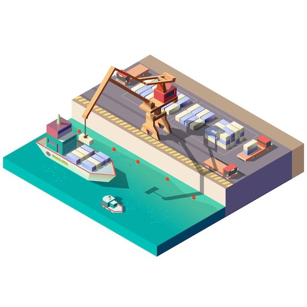 Déchargement de navire de charge dans le port maritime Vecteur gratuit