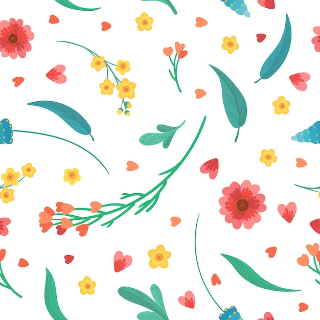 Décor Décoratif Floral. Fleurs S'épanouit Et Laisse Le Modèle Sans Couture Rétro Plat. Fleurs Sauvages Abstraites Sur Fond Blanc. Textile Vintage, Tissu, Papier Peint Design Vecteur gratuit