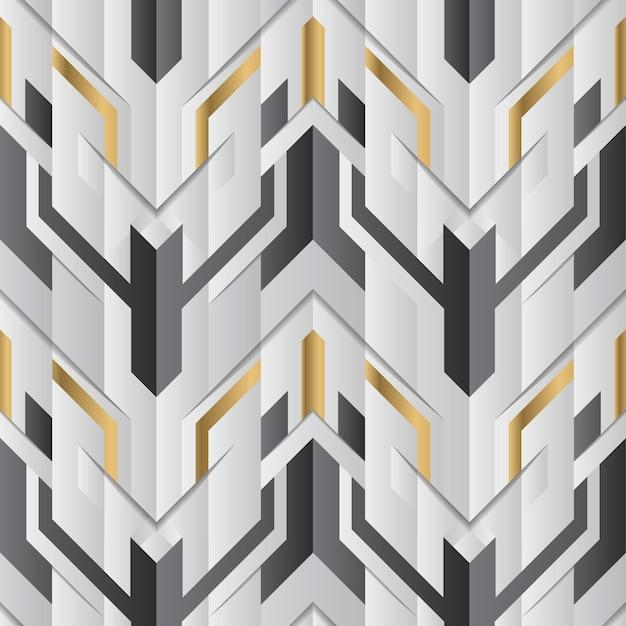 Décor géométrique abstrait rayures élément blanc et doré Vecteur Premium