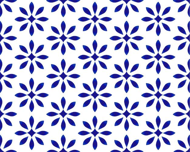 Décor indigo bleu et blanc en porcelaine transparente, motif bleu chinois Vecteur Premium