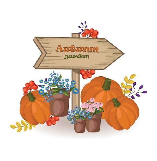 Décor de jardin d\'automne. panneau de bois citrouille et fleurs ...