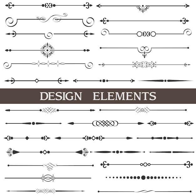 Décor de page, éléments de dessin calligraphiques, set Vecteur Premium
