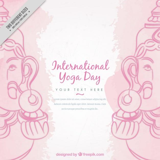 Décoratif fond de yoga avec ganpati Vecteur gratuit