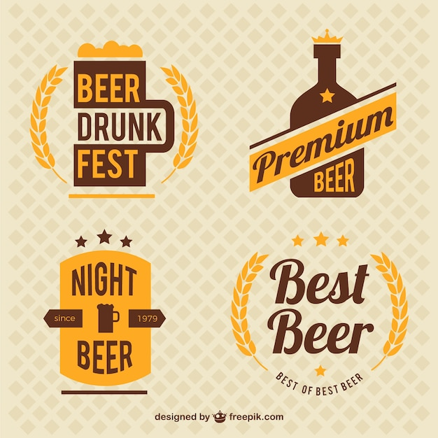 Décoratifs Badges De Bière De Cru Vecteur gratuit