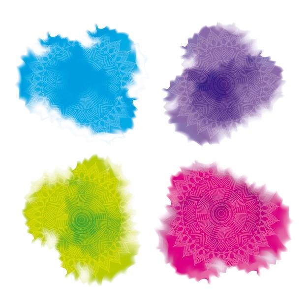 Décoration abstraite de poudre splash multicolore Vecteur Premium