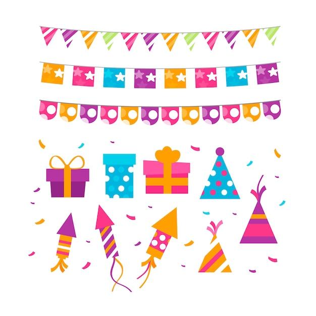 Décoration D'anniversaire Colorée Vecteur gratuit