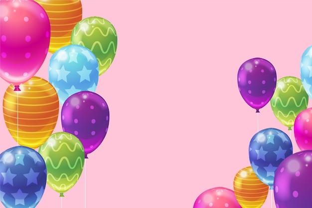 Décoration De Ballons Réalistes Pour La Fête D'anniversaire Vecteur gratuit