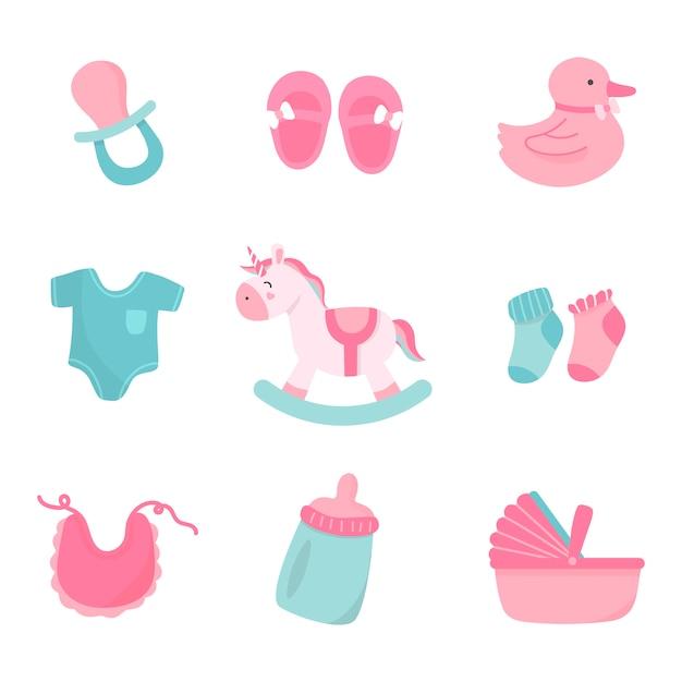 Décoration de bébé mignon Vecteur gratuit