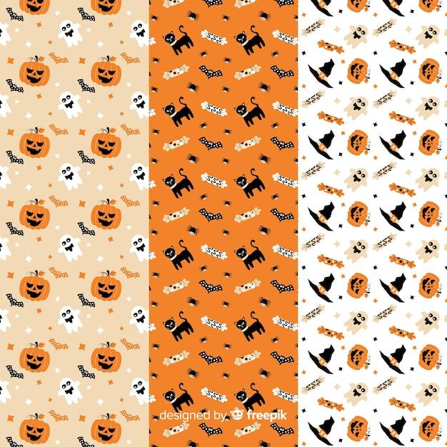 Décoration blanche et orange pour la collection de motifs plats halloween Vecteur gratuit