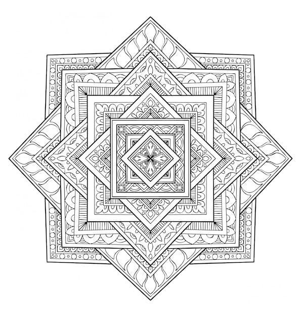 Decoration Design Mandala Livre De Coloriage Adulte Vecteur Premium