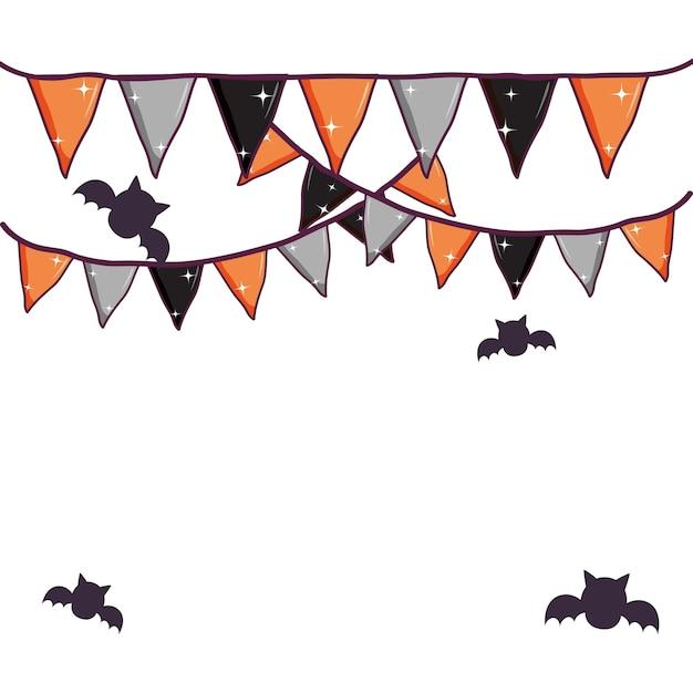 Décoration de drapeaux et de chauves-souris halloween party Vecteur Premium