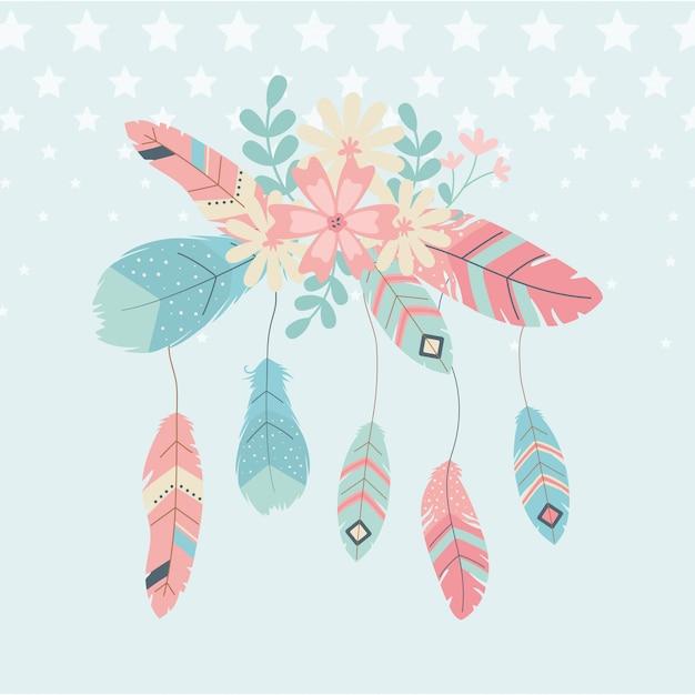 Décoration de fleurs et de plumes style boho Vecteur Premium
