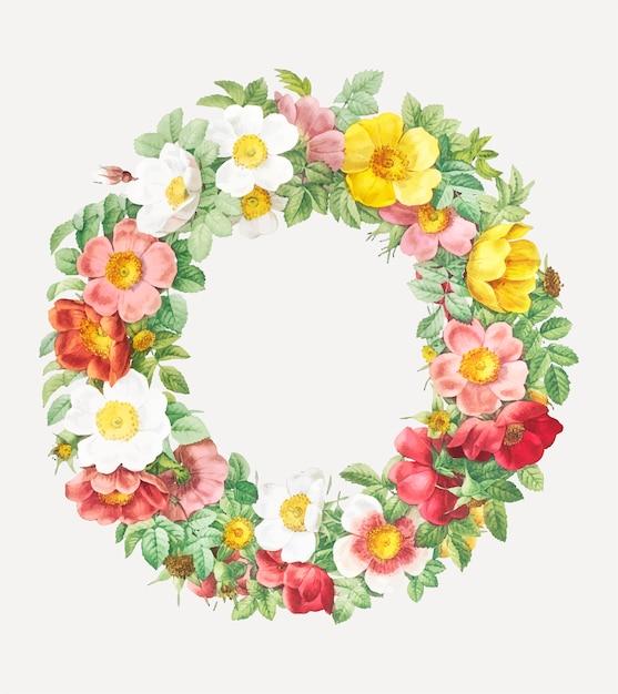 Décoration florale vintage Vecteur gratuit