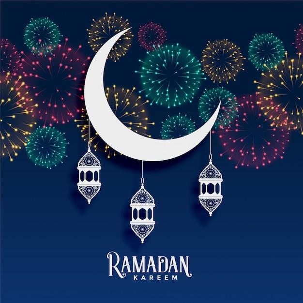 Décoration de fond de feux d'artifice ramadan karim Vecteur gratuit