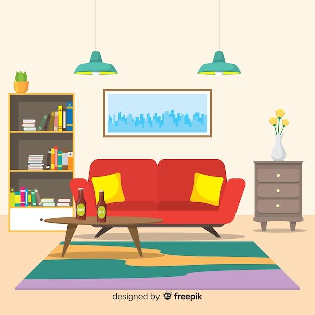 Décoration d'intérieur moderne avec un design plat Vecteur gratuit