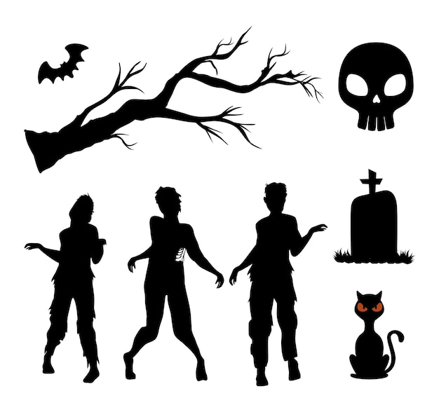 Décoration De Jeu De Silhouettes Halloween Heureux Vecteur Premium