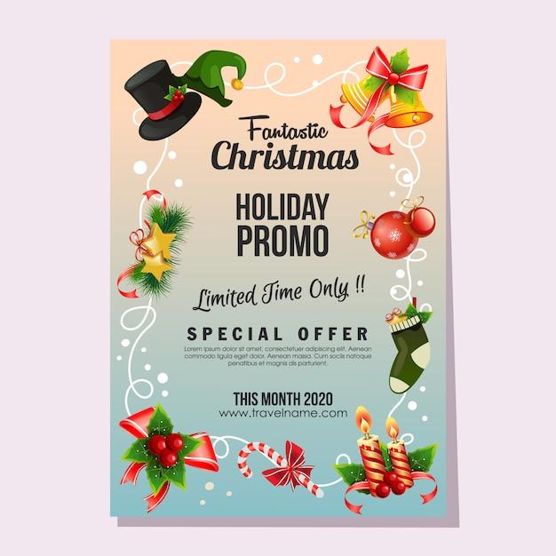 Décoration De Noël Affiche De Vacances Fantastique Vente Cloche Vecteur Premium