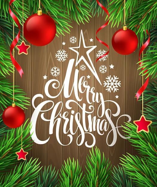 Décoration De Noël Sur Bois Avec Lettrage, Carte De Voeux Vecteur Premium