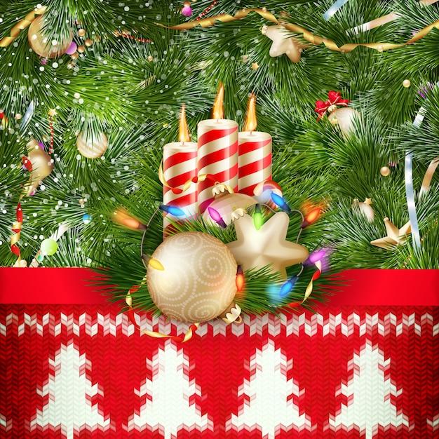 Décoration De Noël Du Nouvel An. Modèle De Noël Sur Fond Tricoté. Illustration Pour Le Jour De L'an, Noël, Vacances D'hiver, Réveillon Du Nouvel An, Silvester, Etc. Fichier Inclus Vecteur Premium