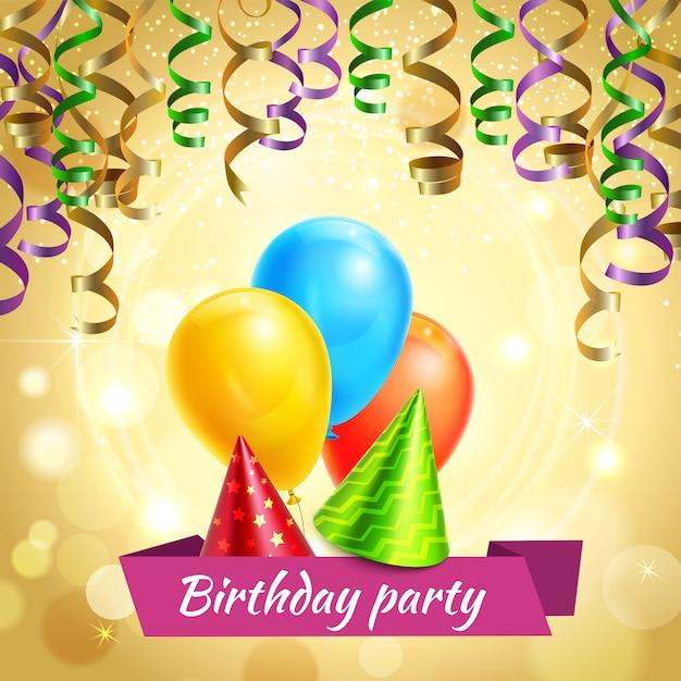 Décorations de célébration d'anniversaire réalistes Vecteur gratuit