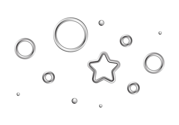 Décorations Chromées, éléments De Conception De Cercles étoilés Vecteur Premium