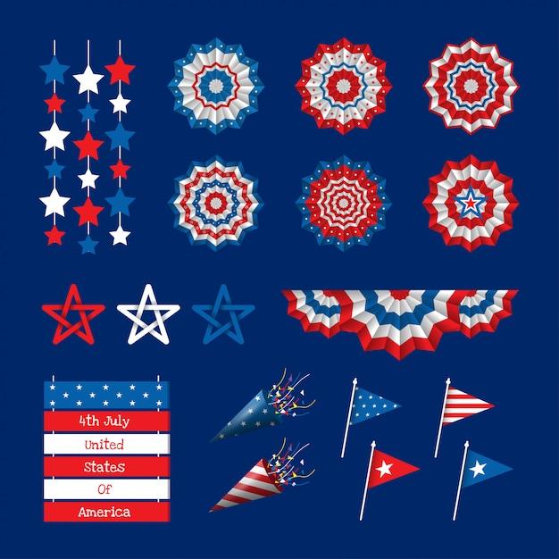 Décorations Du 4 Juillet Jour De L'indépendance états-unis D'amérique Vecteur Premium