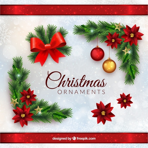 Décorations De Noël Dans Un Style Réaliste Vecteur gratuit