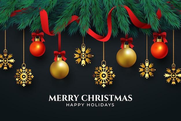 Décorations De Noël Dorées Sur Fond Noir Vecteur gratuit