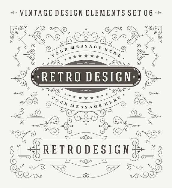 Décorations Vintage Ornements Design éléments Définis. Vecteur Premium