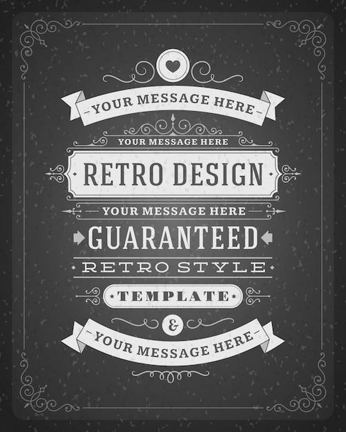 Décorations vintage tourbillonne et fait défiler avec typographique Vecteur Premium
