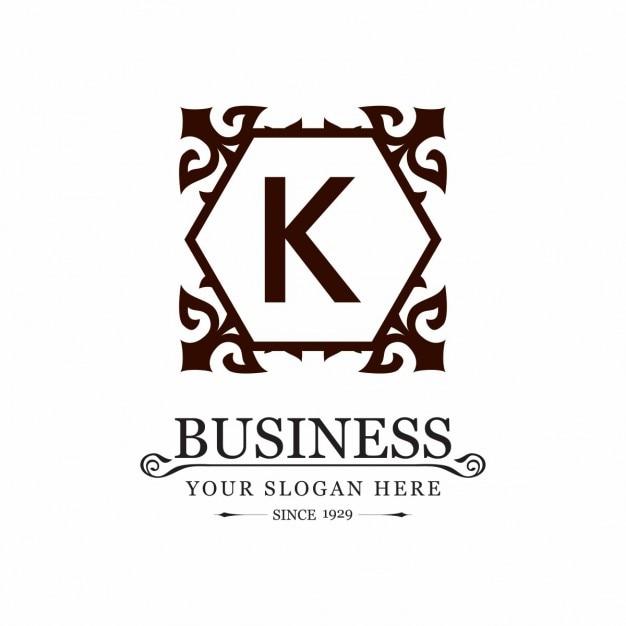 Decorative Floral Frame K Logo Vecteur gratuit