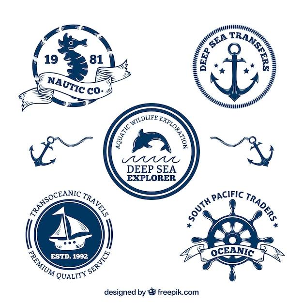 Decorative nautique pack badges Vecteur gratuit