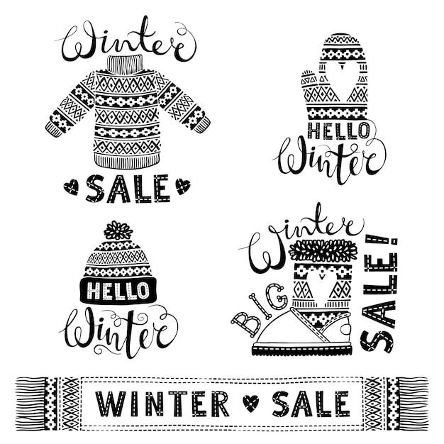 Décors De Vêtements En Laine Tricotés Et Chaussures Vecteur Premium