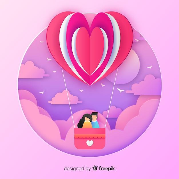 Découper le fond de la saint-valentin en montgolfière Vecteur gratuit
