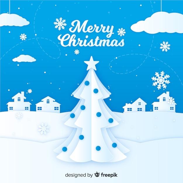 Découper Le Paysage De Noël Vecteur gratuit