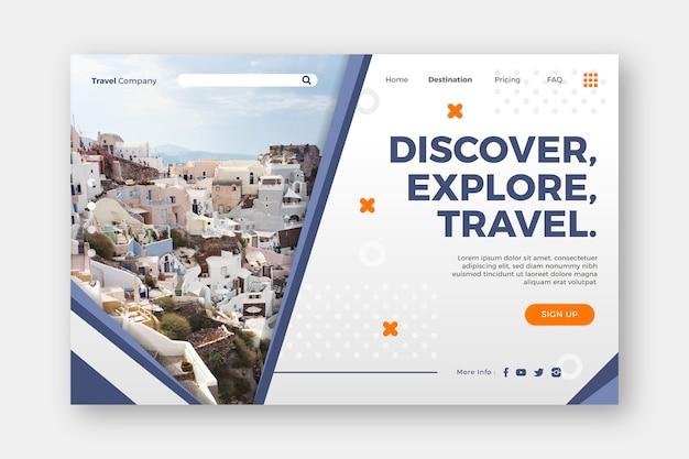 Découvrir explorer et voyager page de destination Vecteur gratuit