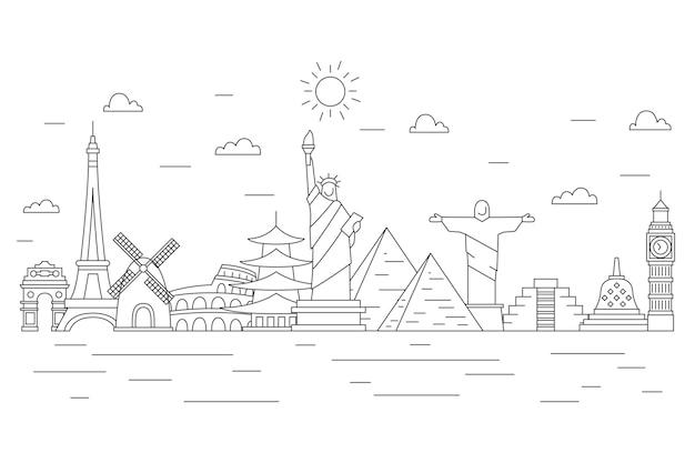 Décrire L'horizon Des Monuments Avec Les Vagues De L'océan Vecteur gratuit