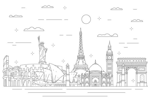 Décrire L'horizon Des Monuments Vecteur gratuit