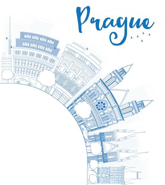 Décrire la skyline de prague avec les points de repère bleus et l'espace de la copie. Vecteur Premium