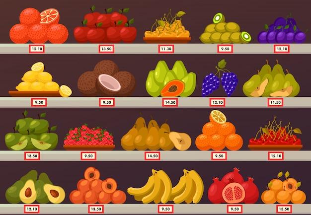 Décrochage Ou Stand Avec Fruits Et Prix Vecteur Premium