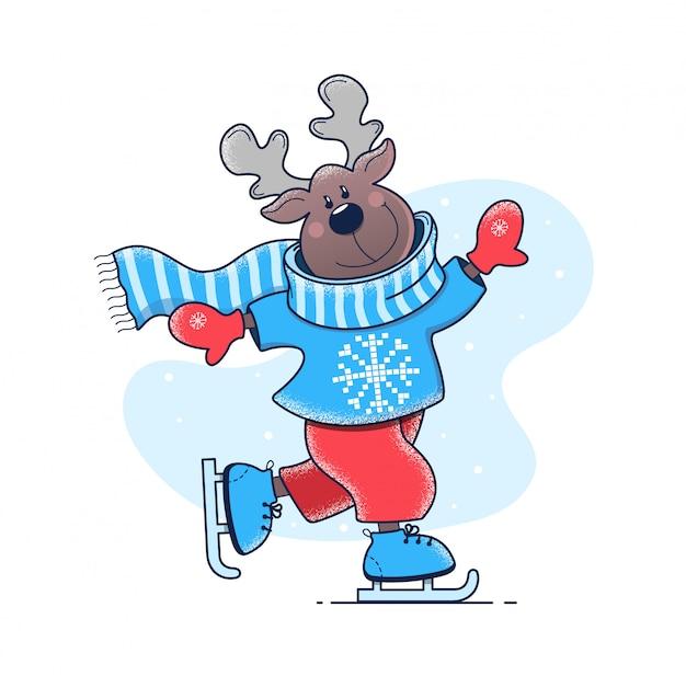 Deer est à cheval sur la patinoire Vecteur Premium