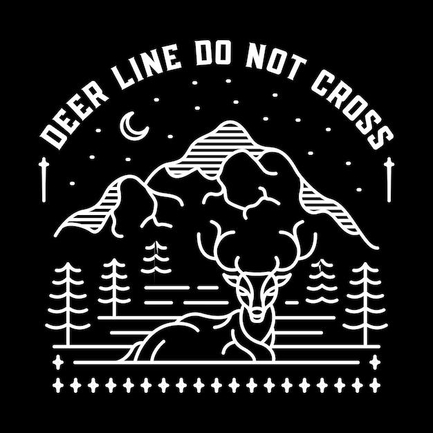 Deer Line Don't Cross Vecteur Premium