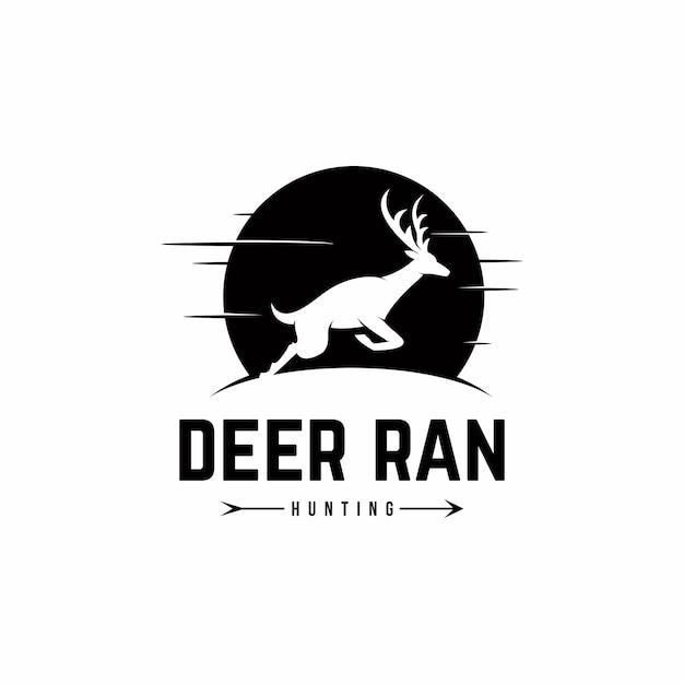 Deer ran logo template vecteur Vecteur Premium